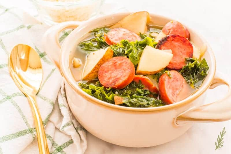 Sense & Edibility's Tuscan Potato and Sausage Soup with Kale