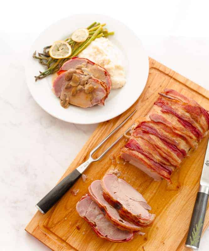 Sense & Edibility's Brined Bacon-Wrapped Pork Loin