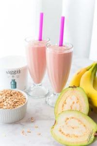 Sense & Edibility's Guava Banana Oatmeal Breakfast Shake