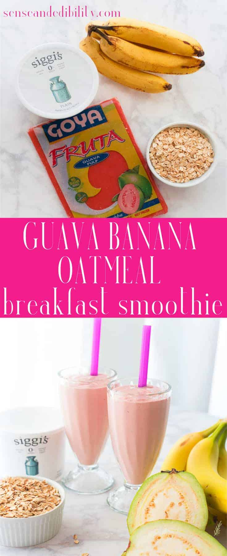 Guava Banana Oatmeal Breakfast Shake prove that a fast breakfast doesn't have to be an unhealthy one. It's nutritious, filling and customizable, too! #breakfastshake #breakfastsmoothie #breakfast #quickandeasymeal #mealreplacement #fruitandyogurt #grains via @ediblesense