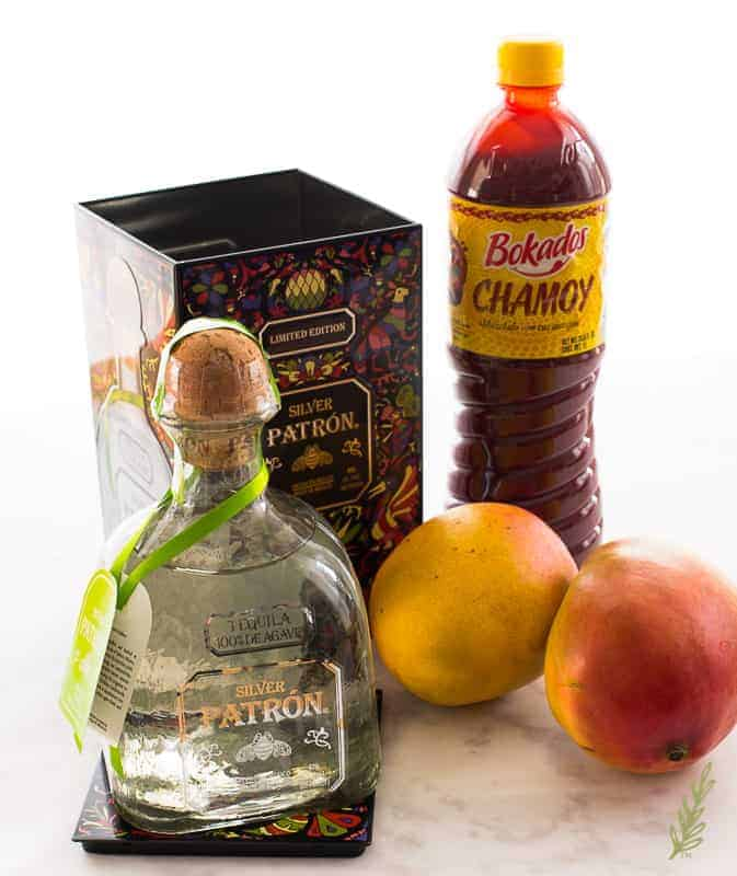 Ingredients needed for Mangonadas: tequila blanco, mangoes, chamoy