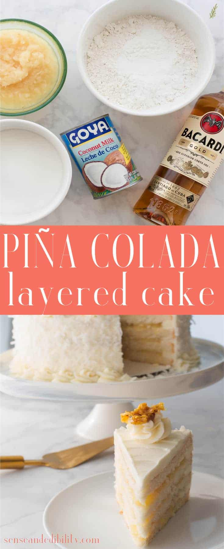 Eating your cocktails is now a thing! A soft, moist coconut cake is layered with a pineapple-rum filling and covered in creamy vanilla buttercream. #pinacolada #pinacoladacake #coconutcake #vanillabuttercream #pineapplecoconut #dessert via @ediblesense