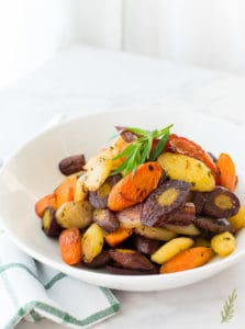 A bowlful of Rainbow Carrots in Tarragon Brown Butter