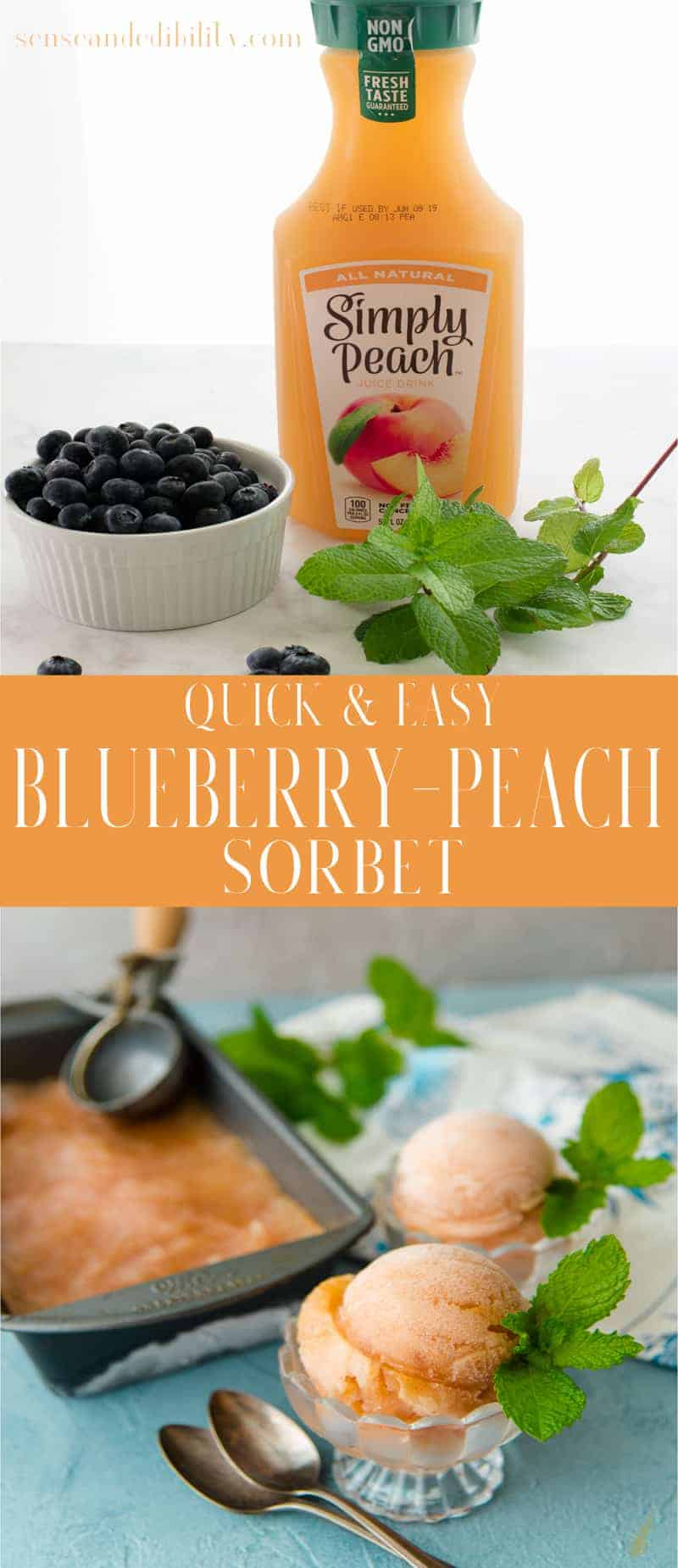 Blueberry-Peach Sorbet Pin with shot of ingredients on top and two dishes of scooped sorbet on the bottom.