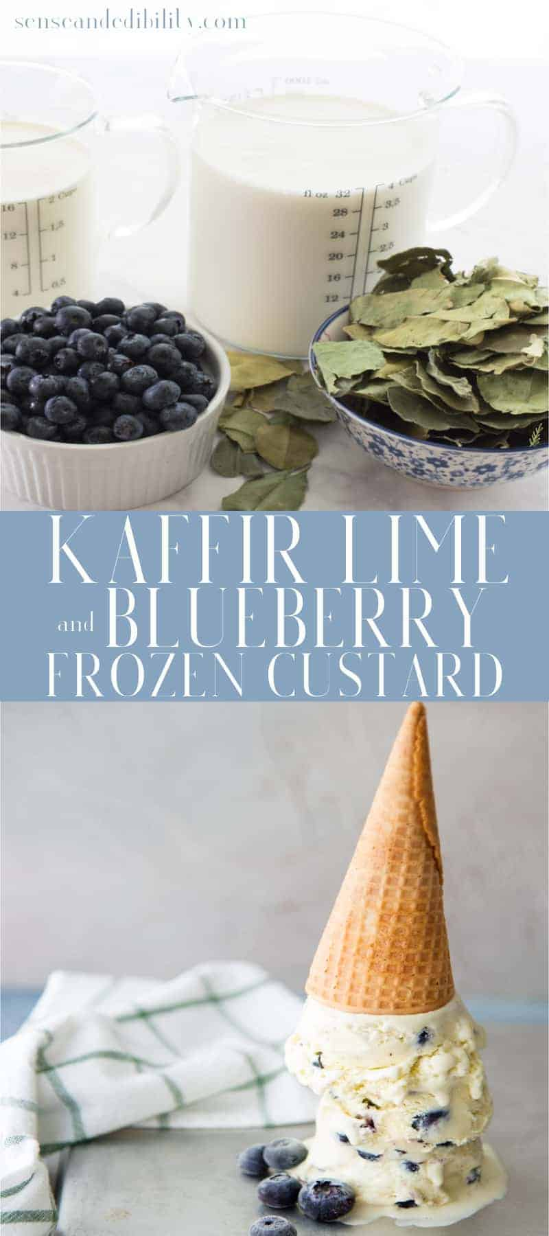 Kaffir Lime and Blueberry Frozen Custard Pin top image of ingredients, bottom image of upside down cone of three scoops
