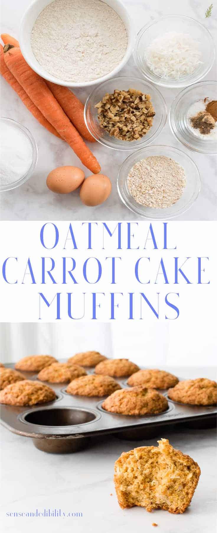 Sense & Edibility's Oatmeal Carrot Cake Muffins Pin
