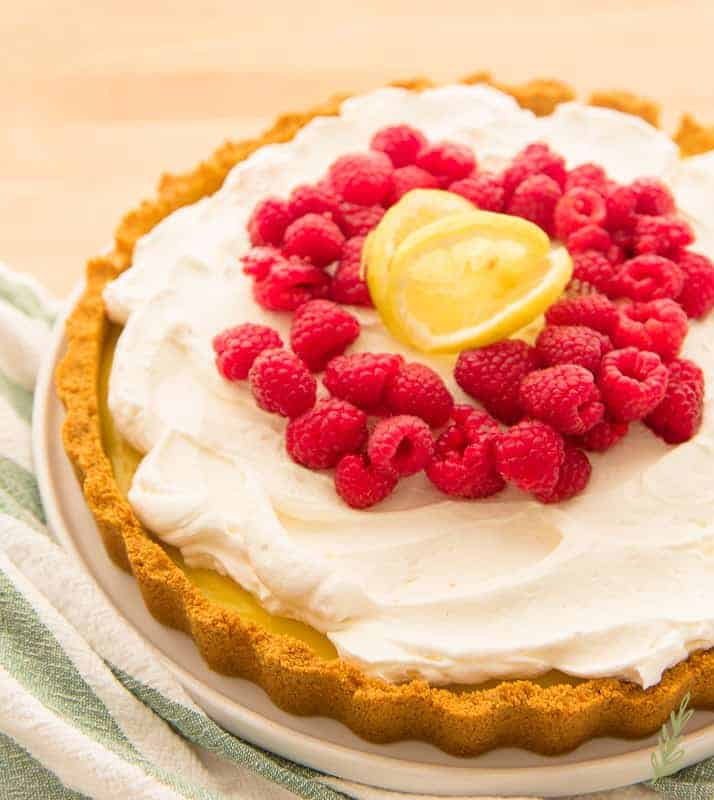 three-quarter view of the finished quick lemon-berry tart