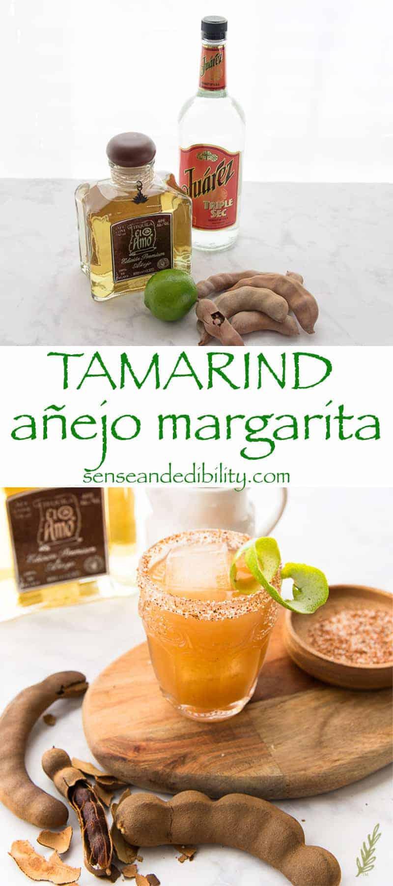 Top image ingredients for tamarind margarita, bottom image finished margarita
