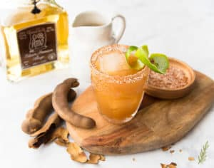 three-quarter shot of tamarind añejo margarita