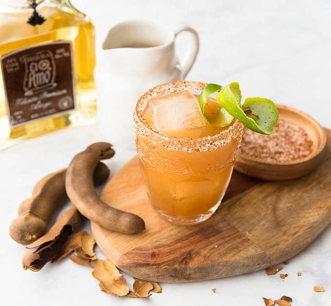 three-quarter shot of tamarind añejo margarita