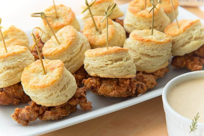 Close up shot of a platter of Chicken and Biscuits