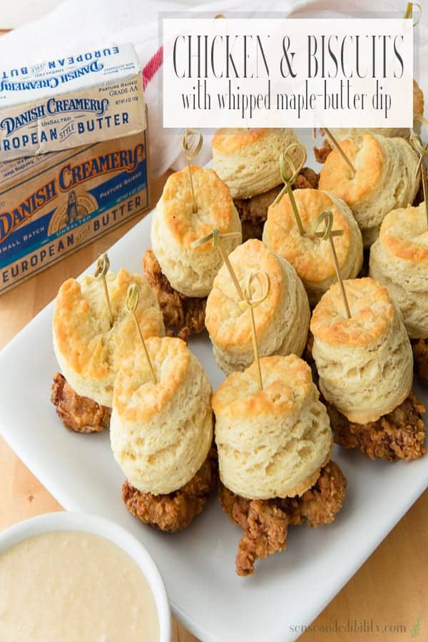 Flavorful, crispy chicken meets flaky, buttery biscuits. Both are held together with a skewer to make getting them to your mouth more convenient. Don't forget the buttery maple dip! #chickenandbiscuits #friedchicken #nationalfriedchickenday #maplebutter #parties #partyfood #appetizer #maindish #mains #entrees #snacks #kidfriendly via @ediblesense
