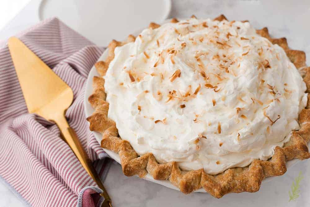 Three-quarter shot of the the Coconut Rum Cream Pie