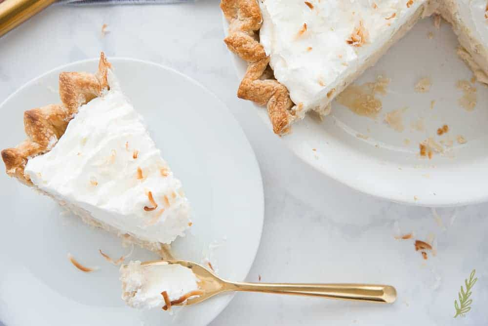 Overhead shot of a slice of Coconut Rum Cream Pie