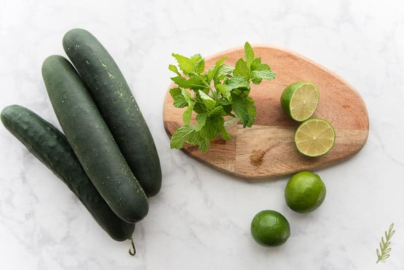 Ingredients for Sense & Edibility's Cucumber Lime Agua Fresca: cucumbers, mint, and limes