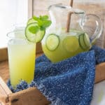 Agua Fresca served on a tray with speckled blue towel