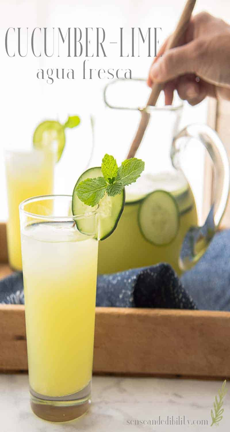 Cucumber and lime (with a hint of mint) are a refreshing way to beat the heat during the dog days of summer. A splash of gin changes this to a party drink. #cucumberlime #aguafresca #lemonade #limeade #drinks #senseandedibility via @ediblesense