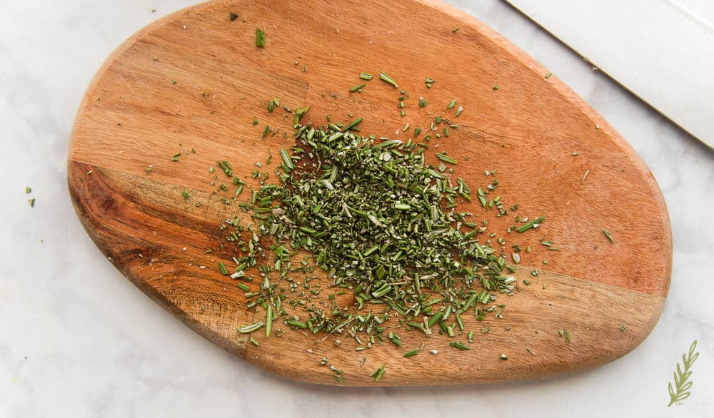 Chopped rosemary to sprinkle onto the French fries