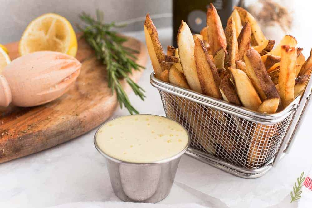 close up of French Fries with Rosemary and Lemon Aioli
