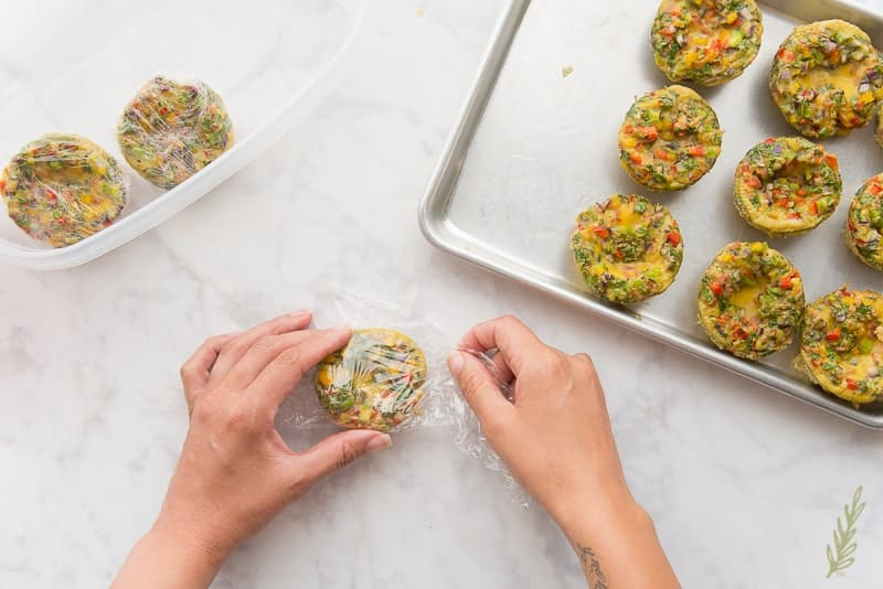 Wrap individual Western Omelet bites for single serve breakfasts
