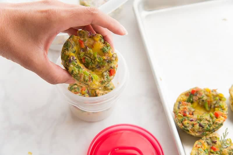 Pack individual Make Ahead Western Omelets in food storage containers