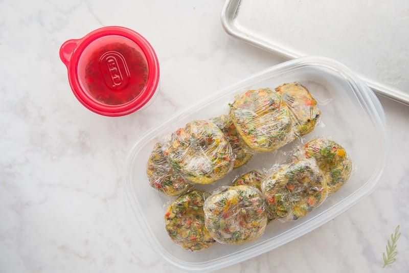 Package Make Ahead Western Omelet bites for freezing