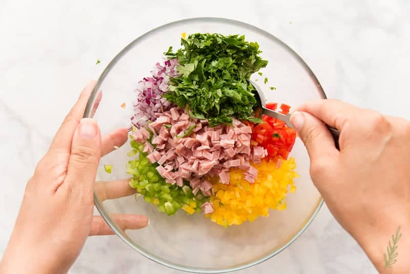 Mix together the veggies and ham