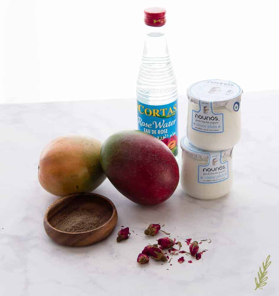 The ingredients used in Mango Lassi with Rosewater