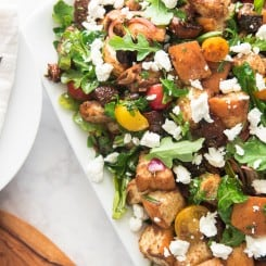 Closeup overhead shot of the finished Panzanella Salad with Balsamic Vinaigrette