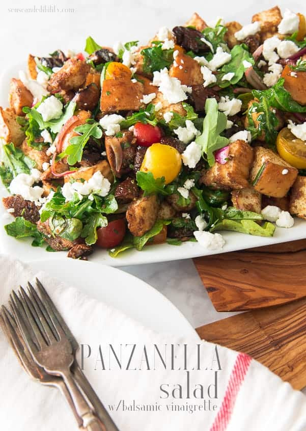 Pin this Panzanella Salad with Balsamic Vinaigrette