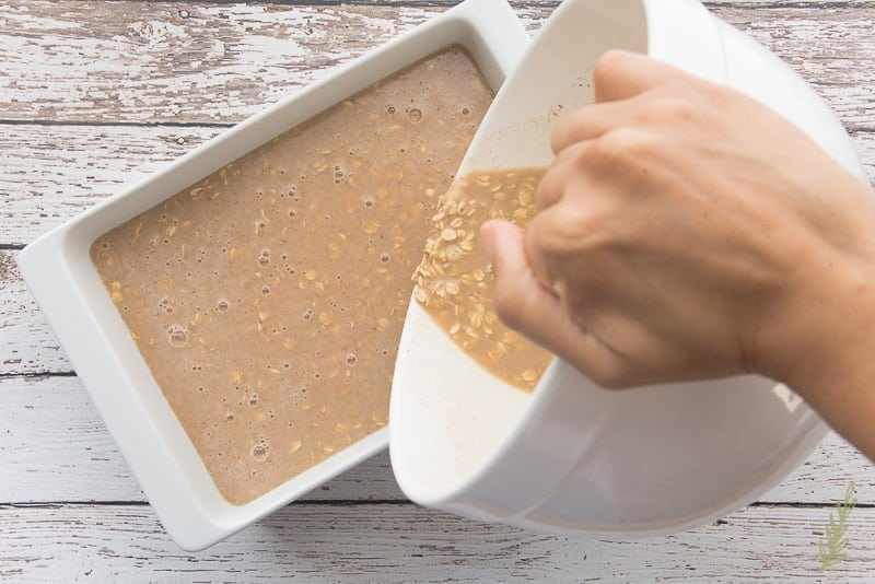 Pour the oatmeal and banana mixture into your greased baking dish