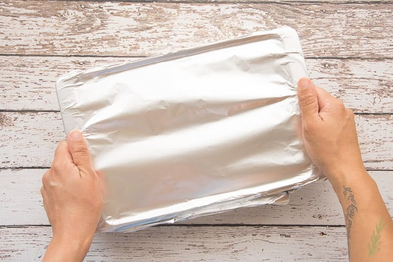 Cover the dish with aluminum foil and refrigerate until ready to bake