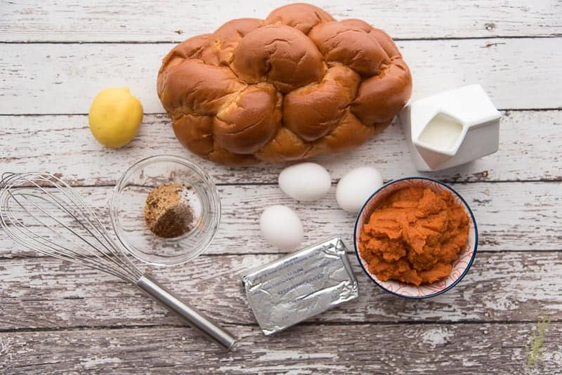 The ingredients used in the Pumpkin Cream Cheese Slow Cooker French Toast Casserole