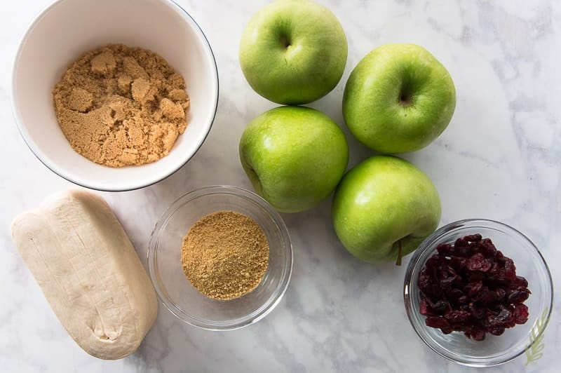 Ingredients for Sense & Edibility's Apple-Cranberry Dumplings