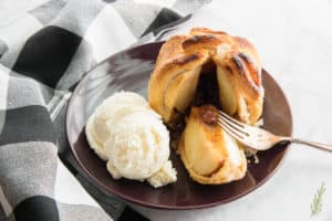 Front view of the interior of an Apple-Cranberry Dumpling