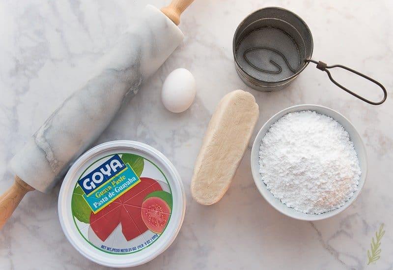 The ingredients needed for pastelillos de guayaba