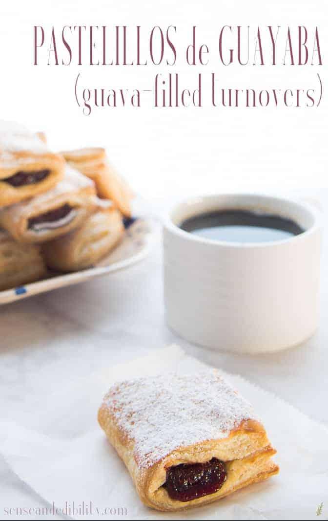 A single pastelillo de guayaba (guava turnover) with a mug of coffee