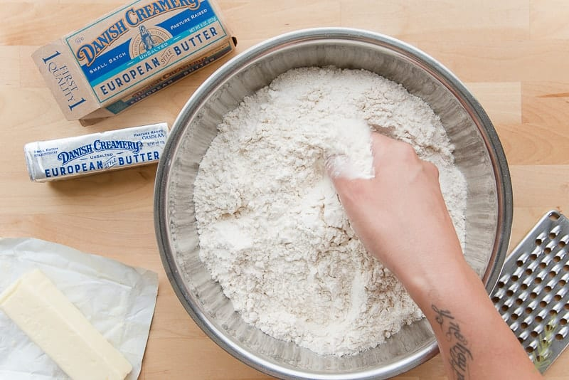 Mix the flours and salt together