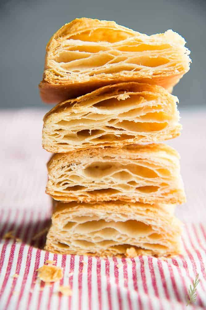stack of cooked puff pastry