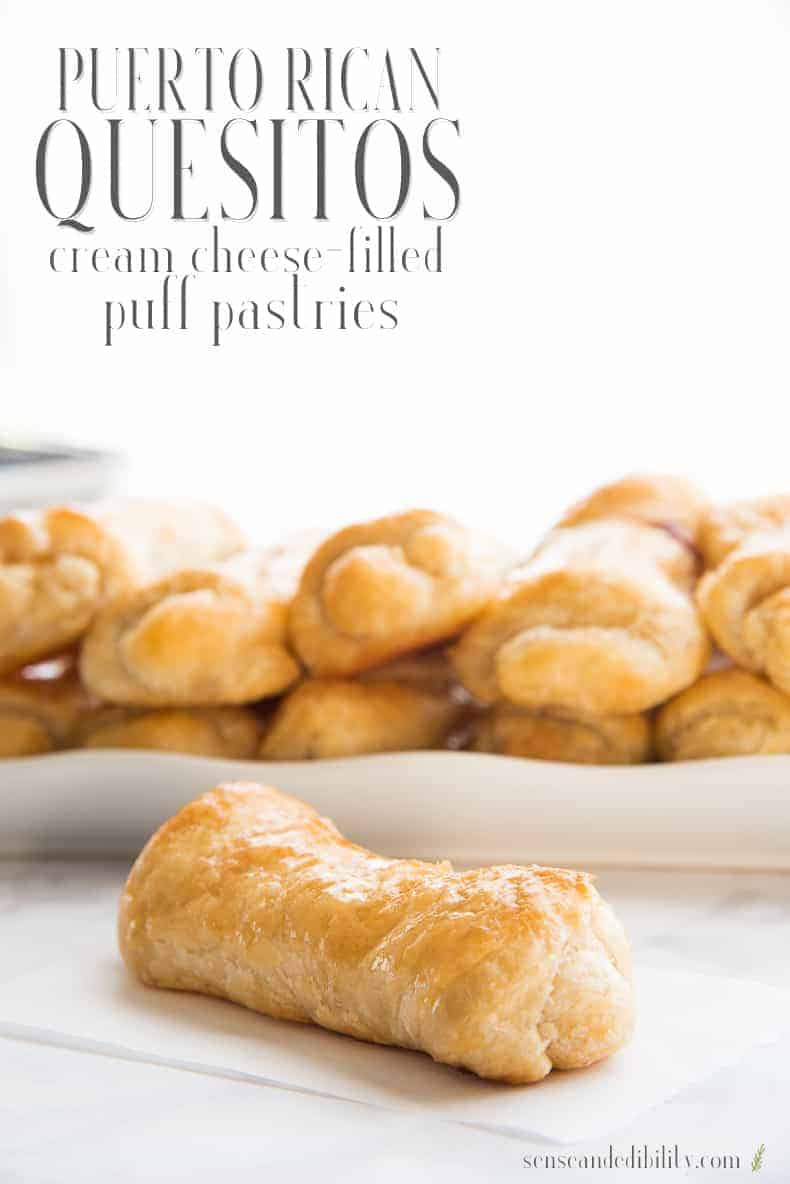 Quesitos are a popular Puerto Rican pastry that mixes flaky puff pastry with creamy and sweetened cream cheese. #quesitos #creamcheesepastry #cheesepastry #PuertoRicanpastry #puertorican #boricua #postresdePuertoRico via @ediblesense