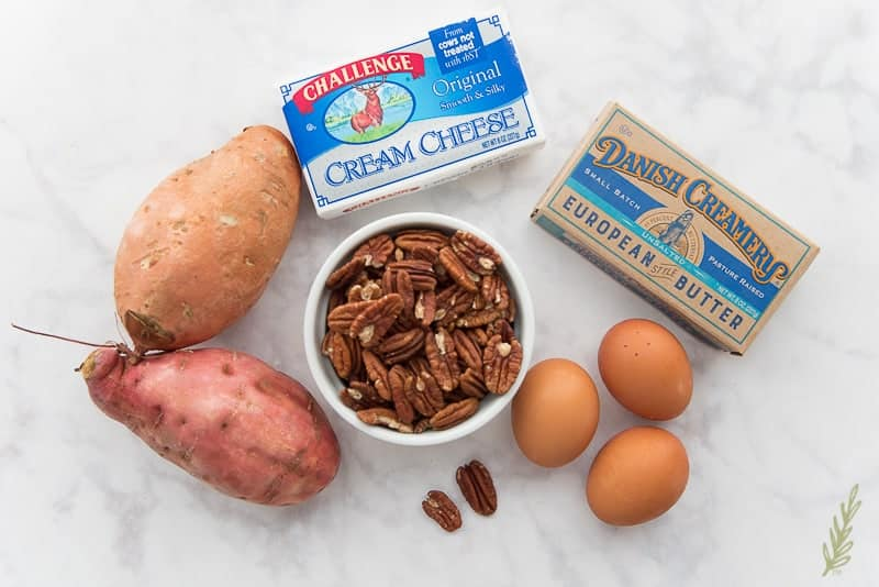 The ingredients needed for Sense & Edibility's Sweet Potato Cheesecake with Pecan Praline Topping