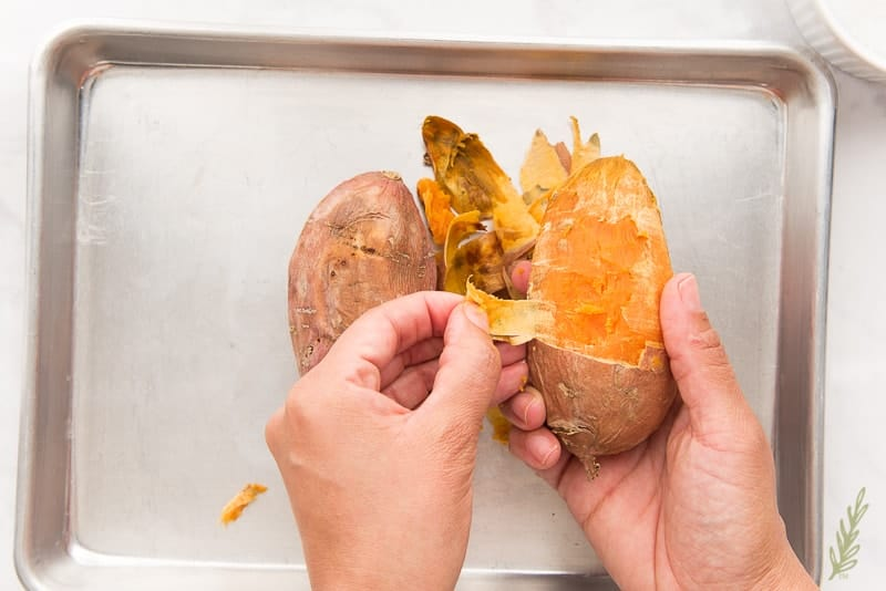 Peel and mash the baked sweet potatoes