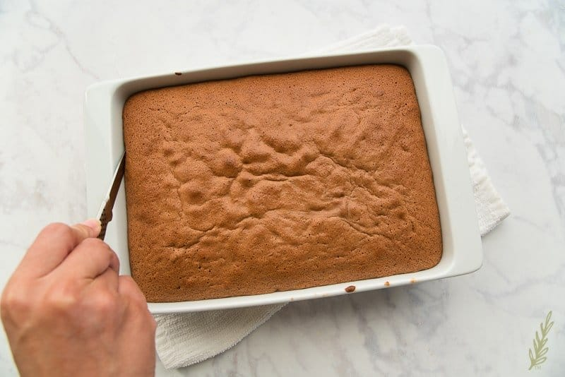 Loosen the cake from the pan using a sharp knife