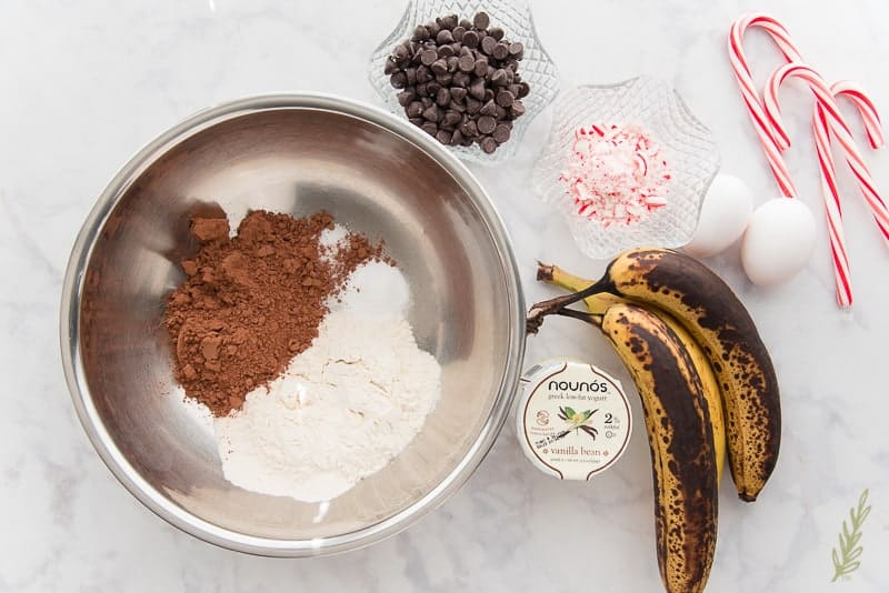 The ingredients needed for Mint Chocolate Chip Banana Bread