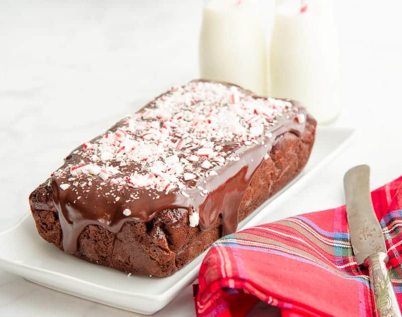 Finish your Mint Chocolate Chip Banana Bread with a generous coating of chocolate ganache