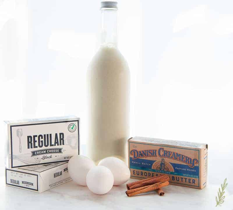 The ingredients needed for Creamy Coquito Cheesecake