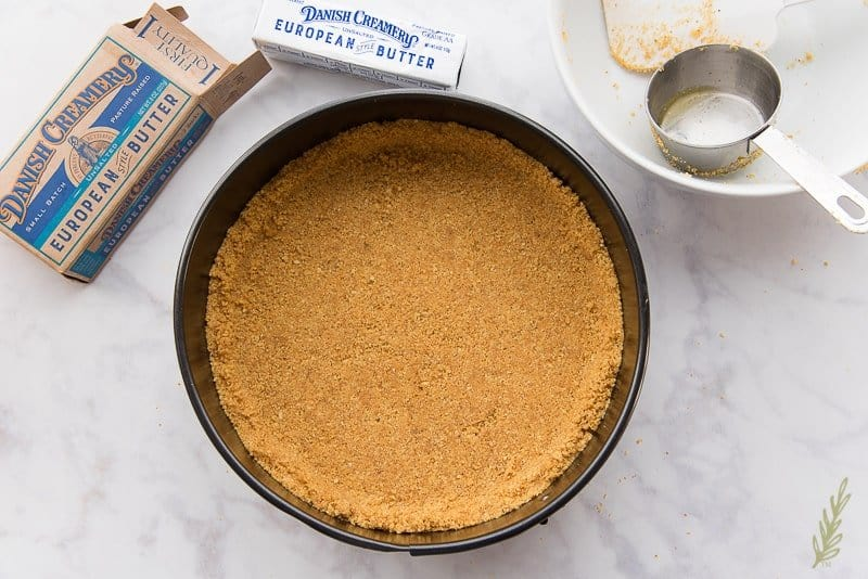 Pack the graham cracker crust together and bake