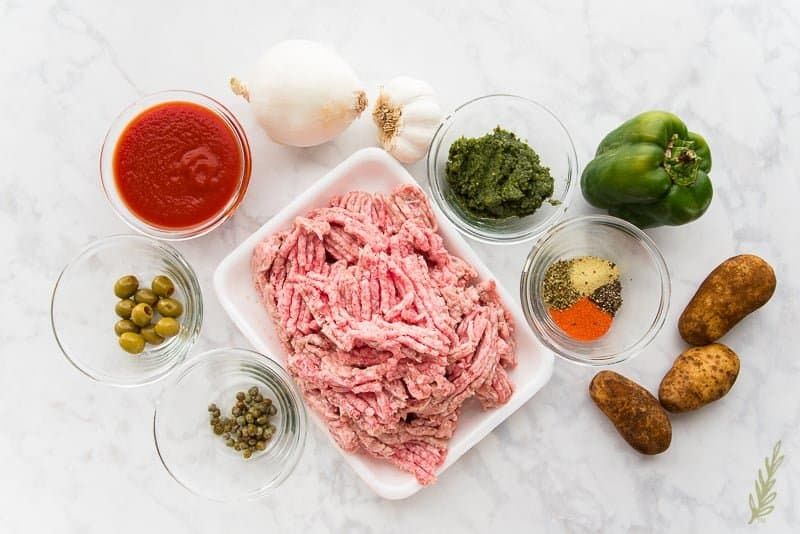 The ingredients needed for the Pork Picadillo filling