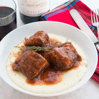 Merlot Braised Beef Short Ribs with Grits