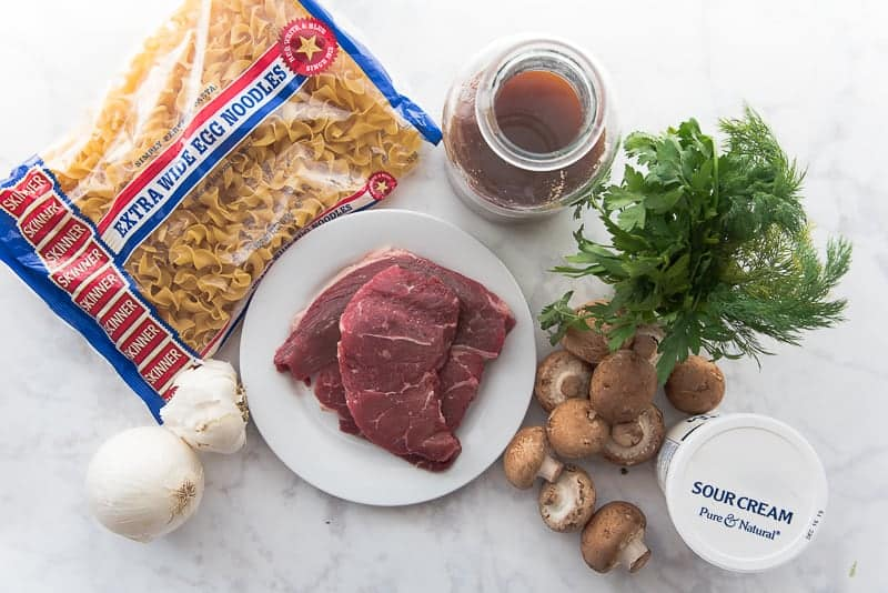 The ingredients needed for One-Pot Beef Stroganoff